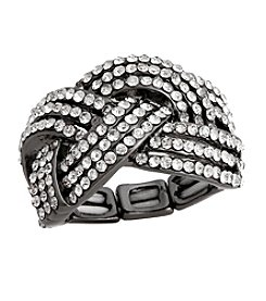 Erica Lyons® Hematite Tone Glamorous Woven Fashion Stretch Ring