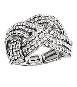 Erica Lyons® Silvertone Glamorous Woven Fashion Stretch Ring
