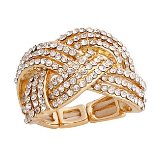 Erica Lyons® Goldtone Glamorous Woven Fashion Stretch Ring
