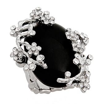 Erica Lyons® Silvertone Glamorous Oval Fashion Stretch Ring