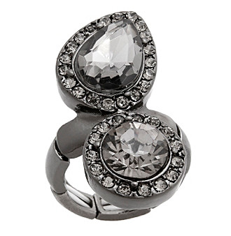Erica Lyons® Hematite Tone Glamorous Two Stone Fashion Stretch Ring