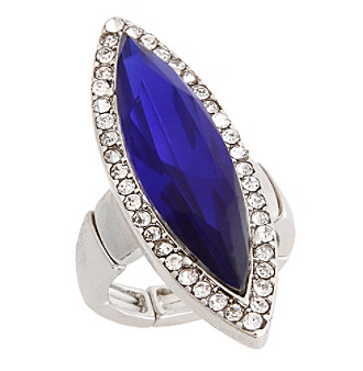 Erica Lyons® Silvertone Glamorous Long Marquise Fashion Stretch Ring