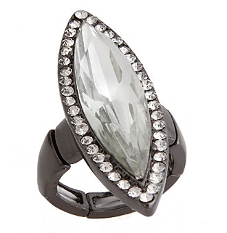 Erica Lyons® Hematite Tone Glamorous Long Marquise Fashion Stretch Ring