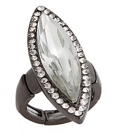 Erica Lyons® Hematite Tone Glamorous Long Marquise  Fashion Stretch Ring