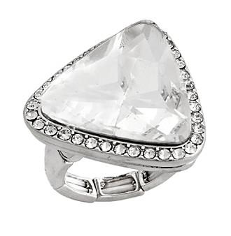 Erica Lyons® Silvertone Glamorous Triangle Fashion Stretch Ring
