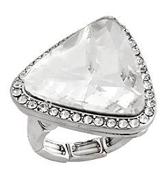 Erica Lyons® Silvertone Glamorous Triangle  Fashion Stretch Ring