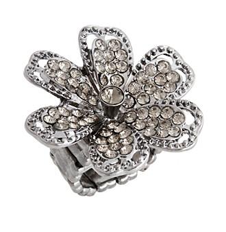 Erica Lyons® Hematite Tone Glamorous Flower Fashion Stretch Ring