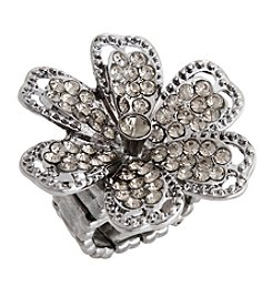 Erica Lyons® Hematite Tone Glamorous Flower Fashion Stretch Ring