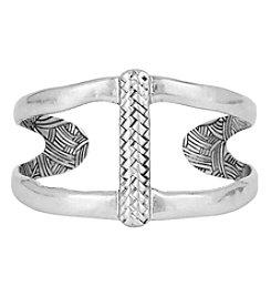 The Sak® Silvertone Woven Open Cuff Bracelet
