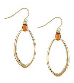 The Sak® Goldtone Single Stone Hoop Earrings