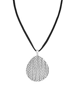 The Sak® Silvertone Basketweave Pendant Necklace