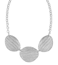 The Sak® Silvertone Basketweave Frontal Necklace