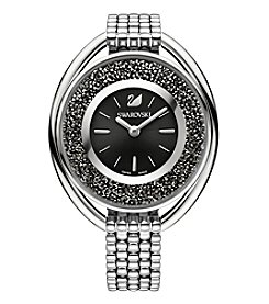 Swarovski® Women's Silvertone Crystalline Oval Black Bracelet Watch