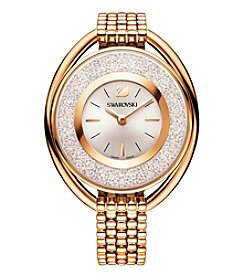 Swarovski® Women's Rose Goldtone Crystalline Oval Bracelet Watch