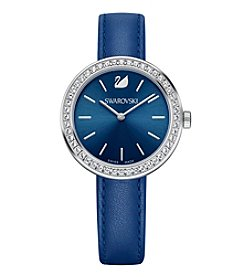 Swarovski® Women's Silvertone Daytime Leather Strap Watch