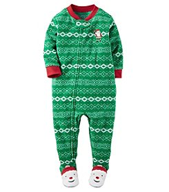 Carter's® Boys' One Piece Fleece Fair Isle Santa Sleeper