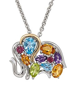 Multigem Elephant Pendant In Sterling Silver And 14k Yellow Gold