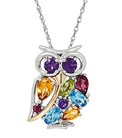 Multigem Owl Pendant In Sterling Silver And 14K Yellow Gold
