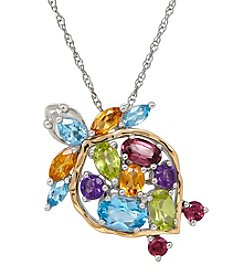 Multigem Turtle Pendant In Sterling Silver And 14K Yellow Gold