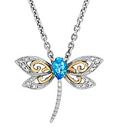 Blue Topaz And 0.05 Ct. T.W. Diamond Pendant In Sterling Silver And 14K Yellow Gold