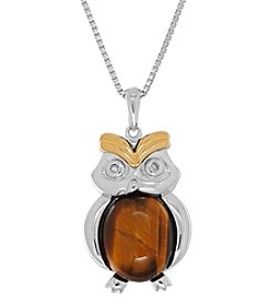 Tiger's Eye And 0.01 Ct. T.W. Diamond Pendant In Sterling Silver And 14k Yellow Gold