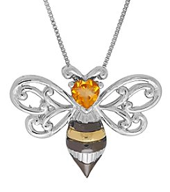 Citrine Pendant In Sterling Silver And 10k Yellow Gold