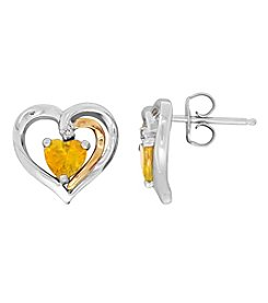 Citrine And 0.01 Ct. T.W. Diamond Earrings In Sterling Silver And 14K Yellow Gold