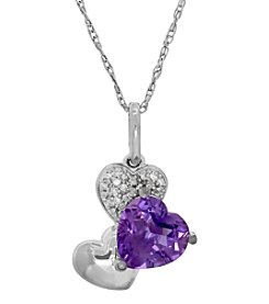 Amethyst And 0.04 Ct. T.W. Diamond Pendant In Sterling Silver