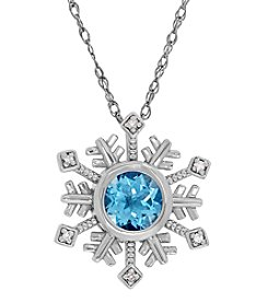 Blue Topaz And 0.01 Ct. T.W. Diamond Pendant In Sterling Silver