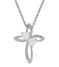 Opal And 0.01 Ct. T.W. Diamond Pendant In Sterling Silver