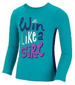 adidas® Girls' 2T-6X Long Sleeve Win Like A Girl Tee