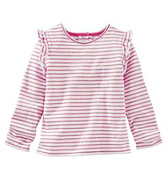 OshKosh B'Gosh® Girls' 2T-4T Long Sleeve Striped Ruffle Tee