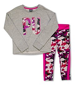 PUMA® Girls' 2T-4T 2-Piece Long Sleeve Tee And Camo Capri Leggings Set