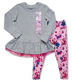 PUMA® Girls' 2T-4T 2-Piece Peplum Top And Floral Leggings Set