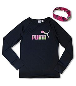 PUMA® Girls' 4-6X Long Sleeve Logo Tee With Headband