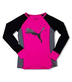 PUMA® Girls' 4-6X Long Sleeve Large Cat Tee