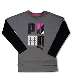PUMA® Girls' 2T-6X Long Sleeve Logo Skater Tee