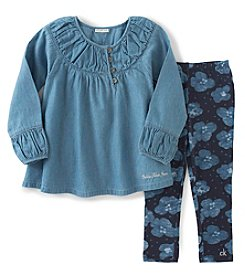 Calvin Klein Jeans Girls' 2T-6X 2-Piece Chambray Tunic And Floral Leggings Set