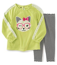 Kids Headquarters® Girls' 2T-6X 2-Piece Hipster Cat Tunic And Chevron Leggings Set