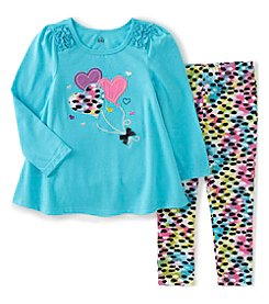 Kids Headquarters® Girls' 2T-6X 2-Piece Heart Balloons Tunic And Leggings Set