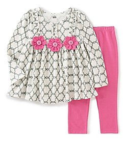 Kids Headquarters® Girls' 2T-6X 2-Piece Flower Applique Tunic And Leggings Set