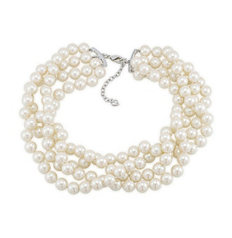 Carolee® Silvertone And Simulated Pearl Multi Strand Torsade Necklace