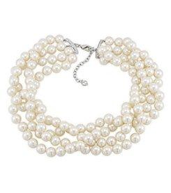Carolee® Silvertone And Simulated Pearl Multi Strand Torsade Necklace