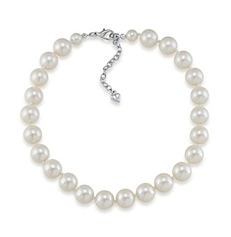 Carolee® Silvertone And Simulated Pearl Collar Necklace