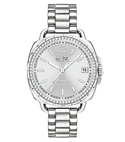 COACH WOMEN'S SILVERTONE TATUM STAINLESS STEEL SUNRAY DIAL SET BRACELET WATCH