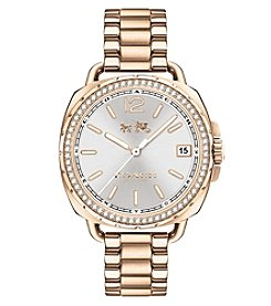 COACH WOMEN'S TATUM CARNATION GOLDTONE SUNRAY DIAL SET BRACELT WATCH