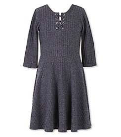 Speechless® Girls' 7-16 Ribbed Lace Up Dress