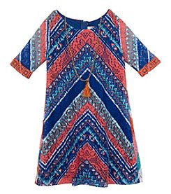 Rare Editions® Girls' 4-6X Crochet Chevron Dress With Necklace