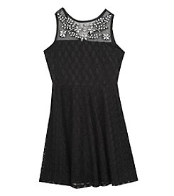 Tween Diva by Rare Editions Girls' 7-16 Jewelled Illusion Neckline Dress