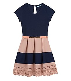 Tween Diva by Rare Editions Girls' 7-16 Belted Colorblock Fit And Flare Dress